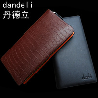 Dandeli male long design wallet genuine leather day clutch wallet commercial single zipper  free shipping