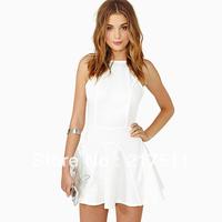 Free Shipping 2013 New Summer Women Ball Gowns Fashion Strapless Bare Back Slim Waist Double Spaghetti Strap White Dress D185