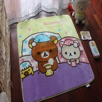 100*100cm Purple Rilakkuma Cartoon mats,Cubs Cartoon rug  Soft machine washableEnvironmental baby mat. Mat non-slip rug