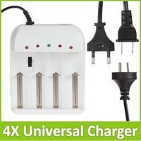 Universal Adjustable 4X Battery Charger with US / UK / EU AC Plug For 18650 26650 AA AAA Rechargeable Batteries