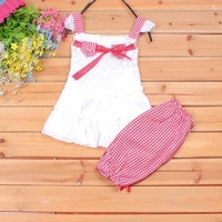 bigger size Girl Clothing Set Lace Children Clothes Set And Lattice shorts Pants 2 Colors Infant Garment