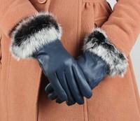 2013 Women's Sheep leather gloves winter warm Korean female winter rabbit hair lady lovely leather gloves