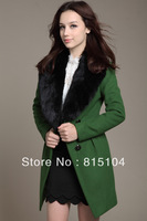 2013 Autumn Winter Overcoat Female Woolen Real Rabbit Fur Collar Slim Women's Coat Ruffle Long Design Cashmere h718