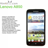 5.5 Inch Mobile Phone Lenovo A850 Quad Core MT6582m Android 4.2 Jelly Bean GPS FM 1GB DDR3 RAM 4G ROM GSM WCDMA 5MP Back Camera