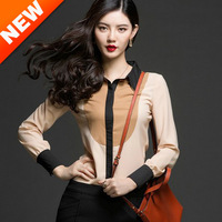 Blouses & Shirts 2013Europe and America hit the color lapel long-sleeved chiffon shirt blouses temperament models free shipping