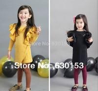 children's autumn clothing female child big ruffle fight beads one-piece dress fashion butterfly sleeve princess dress