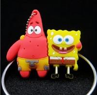 New free shipping cartoont spongebob & Patrick Star model  usb 2.0 flash drive pen drive 1-32GB