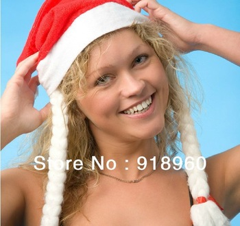 new sale women's&men's Christmas Caps hats with plait/3pcs/lot/Christmas day gift present/Santa Claus Xmas hat cap/wholesale