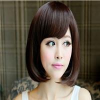 2013 5A Korean Synthetic Hair Wigs Bob hair style ,medium length  Black,dark brown ,and light brown Color