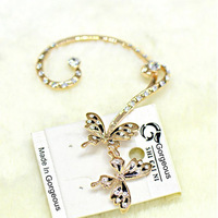 16K Genuine Gold Plated Butterfly Shaped Ear Cuff Inlaid With CZ Rhinestone, Earings Fashion 2013 Free Shipping, SCN022