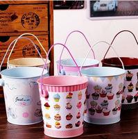 Free Shipping! 6pcs/lot Lovely Cupcake Designs Metal Pen Holder Desktop Organizer Water Tin Bucket Artificial Flower Pot F1003