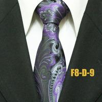 Fashion Gatsby Classic Floral Neckties For Men Purple Paisley Woven Business Ties For Man Gravatas 8CM F8-D-9