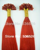 "Human Hair Red Free shipping 70gram/pack 12""14""16""18"" 20""22""24"" 0.7g/s Keratin nail tip hair/ U tip hair extension"