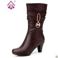 2014 Promotion Pu Solid Boots Botas Femininas free Shipping New Arrivals Winter Women's Boots Medium-leg Fashion Casual Knight