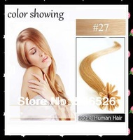100strands  U tip hair extension 10'12'14'16'18'20'22'24' Keratin nail tip remy hair extension #27 Strawberry Blonde color
