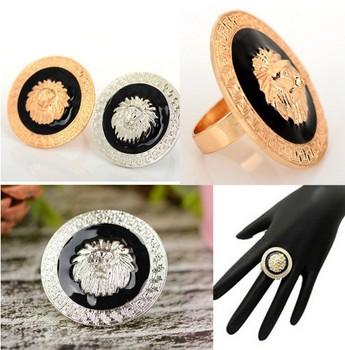 Hot Sale Gothic Punk Styles Metal Silver Gold-Tone Black Enamel Lion Head Ring Adjustable [JR14102*20]