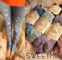 2013 Chiristmas Snow Pattern 100% Pure Cotton Foot Pants/Over Heels Thicken Winter Tutuanna/Leggings For women Free Shipping