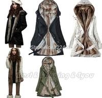 Womens Fur Hoodies Ladies Coats Winter Warm Long Coat Jacket Clothes Factory Wholesale S-XXXL #0195