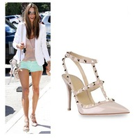 Hot Ladies sexy pointed toe high heels women fashion buckle rivet studded pumps stiletto high heel sandals shoes size 35-40