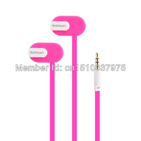 SONUN SN-iP2 Stylish In-Ear Earphone w/ Microphone / Flat Cable for Cell Phone - pink+white
