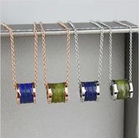 Fashion brand   turquoise ceramic 18K  rose gold titanium fashion necklace classic necklace color gold accessories female
