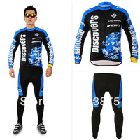 Discover Blue Men Cycling Clothes Set Bicycle Mountain Bike MTB Jersey Cyclisme costume + Gel silicone cushion Pants SIZE M-3XL