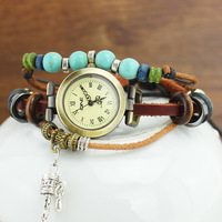 New Arrive Ladies Vintage watch 100% genuine leather fashion beads women bracelet watches