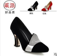 size34-39 2014  women's round toe high-heeled comfortable black red rhinestone shoes female flock spring wedding pumps hh177
