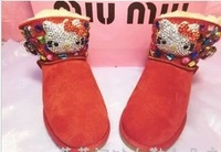 2013 Winter Genuine Leather KT Pearl Diamond Sequins Genuine Leather Warm Red Snow Boots Christmas Promotion!
