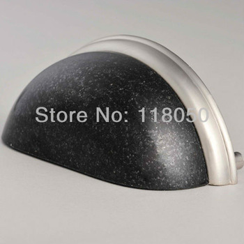 Free Shipping Drawer Pull Handle Cupboard Door Handles,China Black Granite w/ Satin Nickel Finish Base,Rustic Furniture Hardware