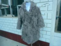2014 spring fur coat hooded  overcoat rabbit fur medium-long fur coat r  winter dress natural fur winter dress  coat