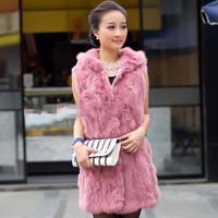 2014 new  slim fur vest hooded medium-long fur coat  rabbit fur spring dress winter dress party dresses