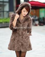 New winter fur coat rabbit fur outerwear long design one piece hooded women clothing overcoat rabbit fur fox fur outerwear