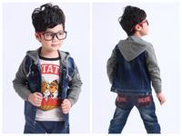 2014 new fashion autumn children's hoodies clothing boys denim jackets kids splice coat kids winter outerwear baby wear