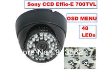 DHL EMS Free Shipping:CCTV Effio-E 1/3 Sony CCD 700TVL Dome Security camera OSD Menu  wide lens 48IR CCD Surveillance camera