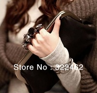 Hot Womens Ladies Handbag Gem Skull Ring Bag Day Clutch Evening Bag Factory Wholesale 3 Colors SB-0001
