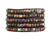 Newest Natural King Jasper Brown Leather Wrap Bracelet Wholesale Natural Stone Bracelet Leather Bracelet Gifts