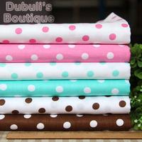 Polka Dots 6 Assorted Pre-Cut Twill Cotton Quilt Fabric Fat Quarter Tissue Bundle Charm Sewing Handmade Textile Cloth 45x45cm