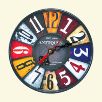 Home decoration mute wood board frameless circle wall clock; 6 kinds to choose