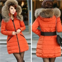 2013 New Women's Down Jacket Women Vlsivery Large Raccoon Fur Thickening Medium-long Winter Jacket Coat Plus Size S-XL 5Colors