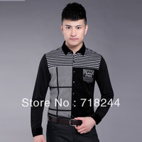 2013 new autumn men's wholesale business lapel fashion casual men's shirts long-sleeved shirt Men's juxtaposition