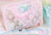 Small Daisy Transparent Portable Washing  Storage Bags with Waterproof  PVC 32g