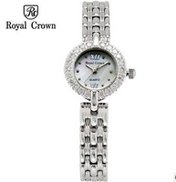 Royal Crown Quartz Watch Fashion & Casual Steel Strap Famous Brand Female Rhinestone Watch Ladies Bracelet Vintage Wristwatches