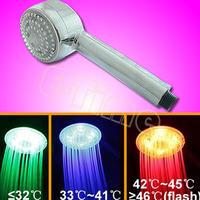 10pcs/Lot  Hot selling Temperature Control Romantic Light Bathroom LED 3 Colors Hand Shower Head Wholesale1369