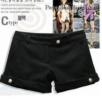 Hot selling!New 2013 Fashion Women's Shorts Wool All-match Women's boots women cut jeans shorts Black/Grey