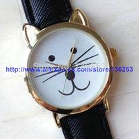 New Arrivals Fashion Woman GENEVA Cute Cat Wristwatches Leather Strap Kitty Beard Watches No Rhinestone No Logo 300pcs/lot