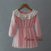 2014 New Design Baby Girls Dress Pink Polyster And Yarn Dresses With White Lace Collar Infant Halloween Party Dresses GD30915-3