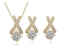 2014 New Fashion 18K Platinum Plated  Austria Crystal Jewelry Set,Crystal Necklace /Earrrings  for Wholesale Free Shipping