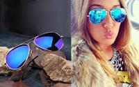 42% off original price 3.49$ DOWN TO 1.99$ on sales Full Blue Mirrored Aviator Sunglasses Dark Tint Lens Silver Frame  Women men
