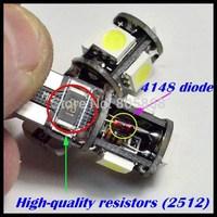 Wholesale T10 5050 Led Canbus Car Smd Light + W5w 194 5smd 5 Bulb No Obc Error 50pcs/lot